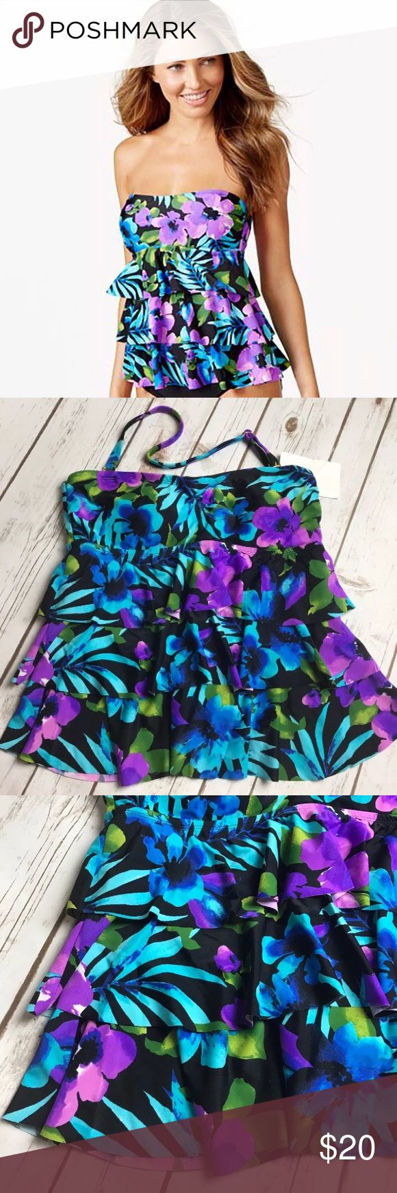 NEW Island Escape Ruffle Halter Tankini Swim Top About this item: Brand: Island Escape Size/Fit: Size 8 Color: Black / Purple / Blue Flaws: None. Brand new w tags.   💕Feedback is appreciated! Please contact me before leaving negative or neutral feedback.  ❌No swaps or trades.  ❌No PayPal  ✨Please understand I try to capture colors as best I can. Due to differences in computer & phone screens resolution, the colors may appear slightly different.   SKU:RR025 Island Escape Swim