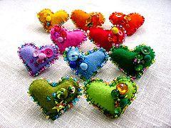 beaded embellished hearts: Beads Embellishments, Embellishments Heart, Felt Hearts, Felt Pin, Felt Crafts, Beads Heart, Rainbows Heart, Heart Pin, Heart Felt