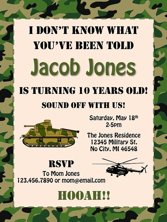 Military Camouflage Birthday Party by BluePandaInvitations on Etsy
