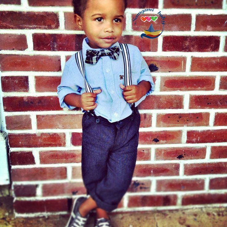 Toddler Suspenders And Bow Tie On Blue Jeans Outfit