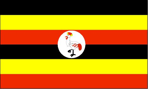 "Uganda Flag ~ The flag was adopted October 9, 1962. The flag's colors: black, yellow and red, represent the Ugandan people, sunlight and brotherhood.           The centered ""Great Crested Crane"" is the country's national badge (symbol)."