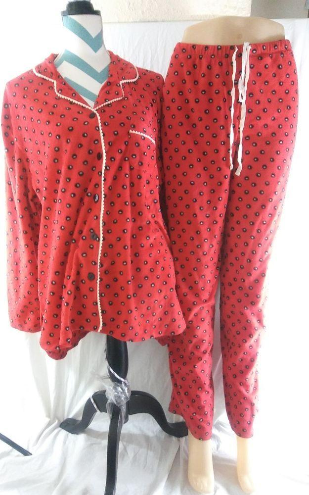38445c760d84 Soft Ellen Tracy Women's Size XL Dots Fleece Pajama Set Roomy #EllenTracy  #PajamaSets #Sleep