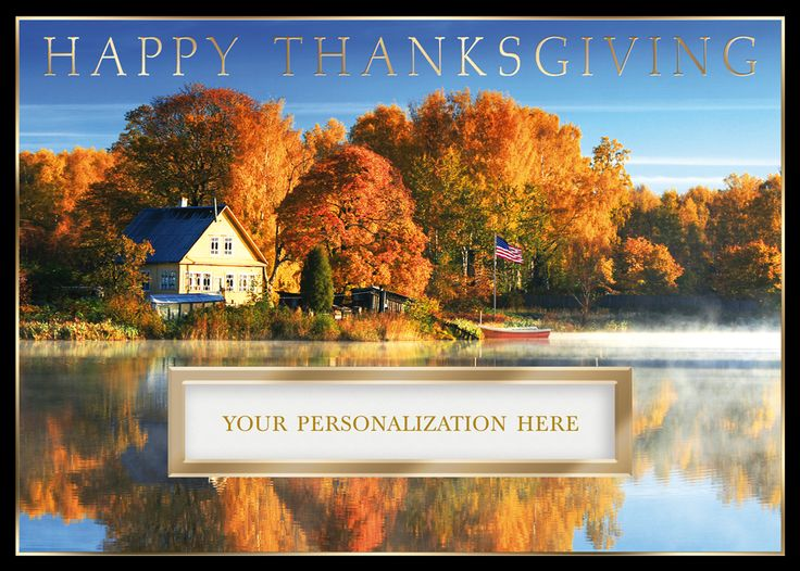 This Thanksgiving card features a country home with fall trees and a lake above a die cut area which allows your name to show through to the front. A perfect choice to send to business associates, friends or family.
