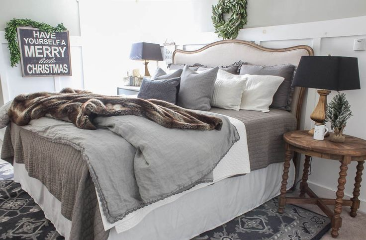 Christmas Farmhouse Bedroom - Rooms For Rent blog.  Gorgeous.  Walls:  Hazy Skies, Benjamin Moore. OC-48.