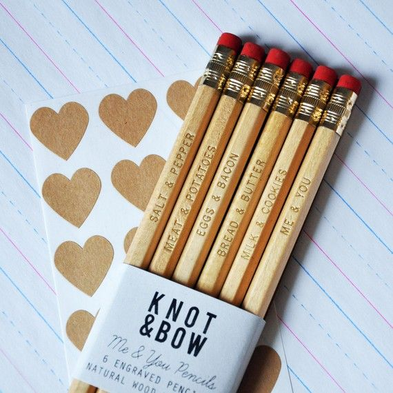 Me You Pencils Gold Stamped Natural Wood Set Of 7