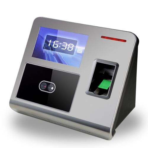 Face Fingerprint Password Attendance Machine Employee Checking-in Payroll Recorder TCP/IP 4.3 inch HVGA Screen DC 12V Facial Recognition Time Attendance Clock