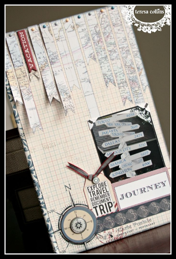 CHerInspirations: Travel album: Washi tape book binding, mini book using Teresa Collins Far & Away