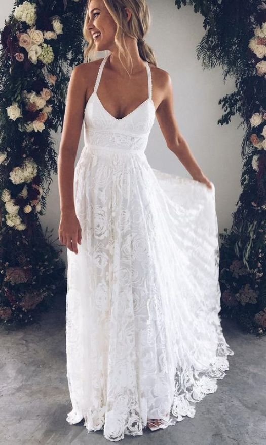 Sexy Lace Cross Split Side Wedding Dresses Bridal Gown