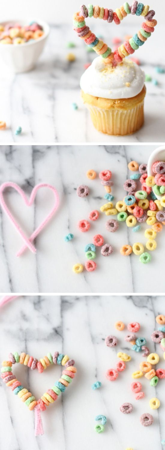 Heart Cupcake Toppers | Click Pic for 26 DIY Valentines Day Crafts for Kids to Make | Easy Valentine Crafts for Toddlers to Make