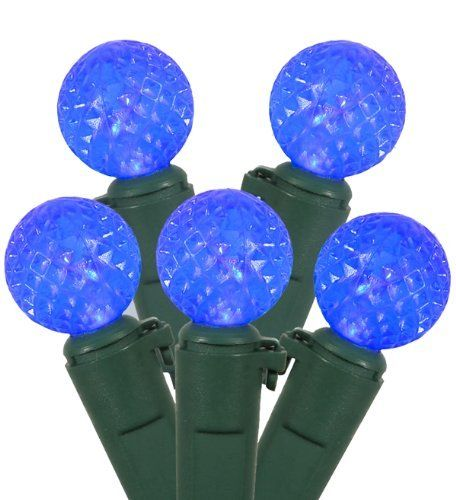 Set of 50 Blue LED G12 Berry Fashion Glow Christmas Lights - Green Wire by Vickerman. Save 40 Off!. $14.99. Set of 50 LED Fashion Glow Christmas Lights Item #X4G0502Features:Color: blue bulbs / green wire Number of bulbs on string: 50 Bulb size: G12 (15mm diameter, berry lights)Spacing between each bulb: 4 inches Lighted string length (approx): 16.25 feet Total string length (approx): 16.5 feetAdditional Product Features:LED lights use 90% less energy Lights are equipped with the l...