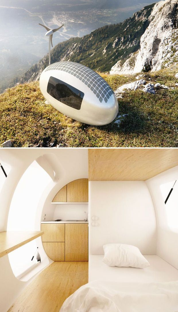 The Eco-capsule Pod - Is a portable, off-grid two-person house that offers solar & wind power generation as well as a design that collects & stores rainwater. Inside there's a bed, a kitchenette, toilet & shower. The capsule can be dragged, shipped, airlifted or towed into virtually any location you choose - amazing - available to pre order soon from Nice Architects #sustainable...x