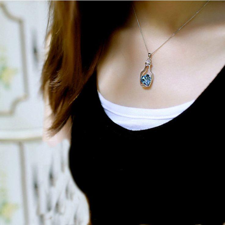 Творческий Женщин Мода Ожерелье Дамы Популярный Стиль Любви Дрейф Бутылки Кулон Ожерелье Синий Кристалл Сердце Кулон Ожерелье