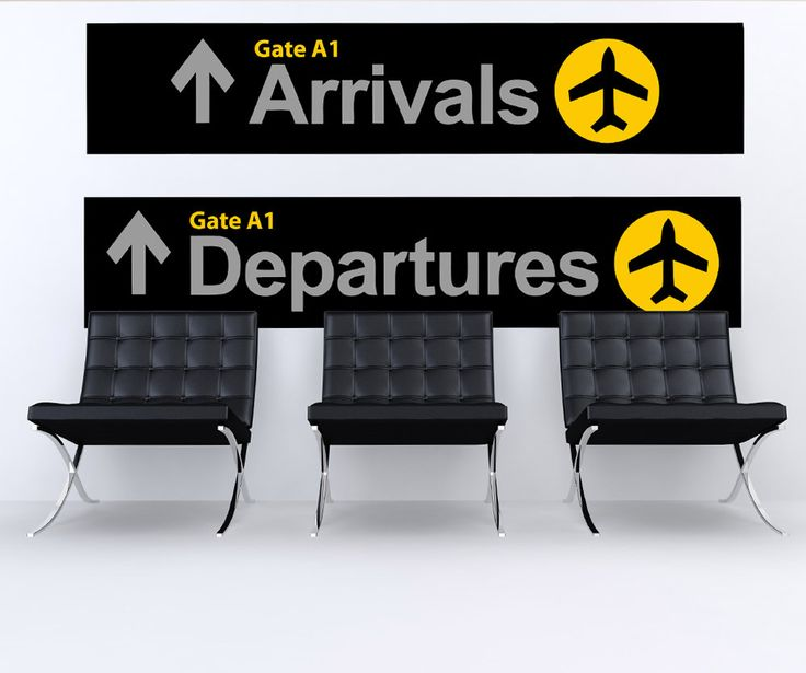 Wall Graphic Decal Sticker Airport Arrival Departure Sign #879 | Stickerbrand wall art decals, wall graphics and wall murals.