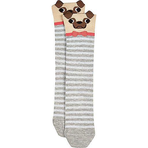 Graue Socken mit Mopsmotiv - Strumpfhosen/Socken - Accessoires - Damen