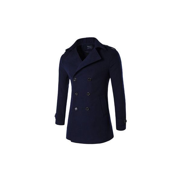 s Winter Thick Warm Long Coat Double-breasted Turndown Collar Slim Fit... (705 ZAR) ❤ liked on Polyvore featuring men's fashion, men's clothing, men's outerwear, men's coats, navy, mens fur collar coat, mens navy pea coat, mens slim fit coat, mens double breasted long coat and mens slim pea coat