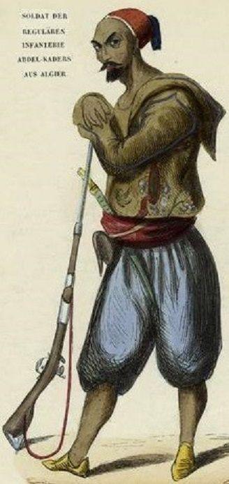 Soldat algerien d'infanterie des réguliers d'Abd al-Qadir al-Idrissi al-Hassani , anciennement soldat de l'empire Ottoman