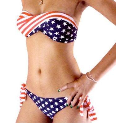 American Flag Bandeau Bathing Suit www.americapartygear.com