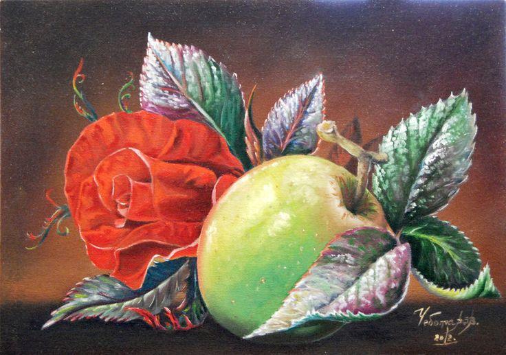 Rose and apple by chebot.deviantart.com on @DeviantArt