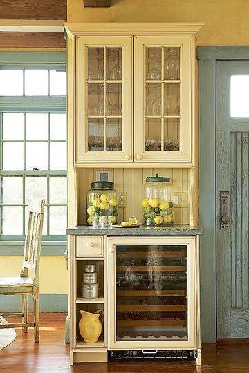 Sideboard Beverage Center: I love this! I need this in my kitchen ASAP for wine storage and all our glasses.