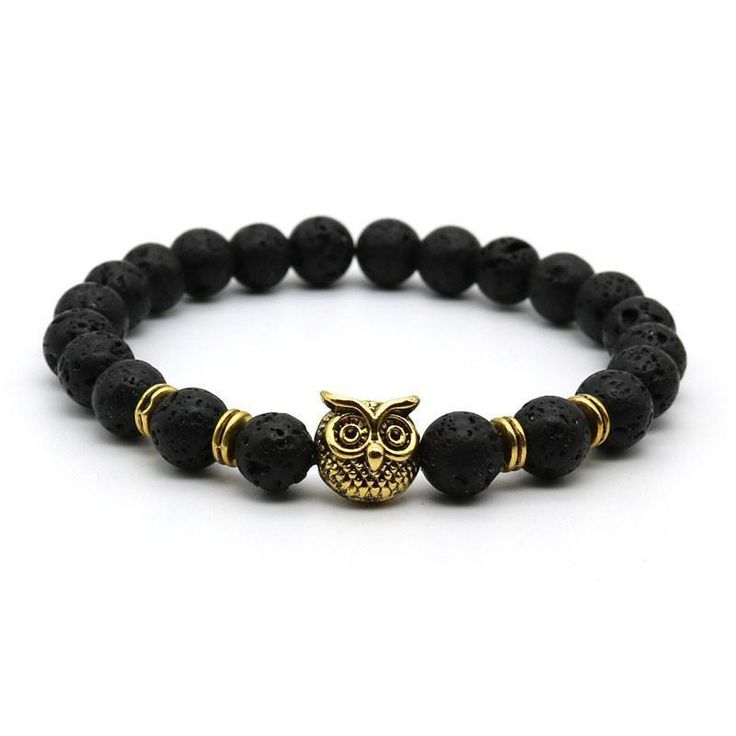 Bracelets - Handmade Lava Stone And Matte Animal Owl Men's Bracelet