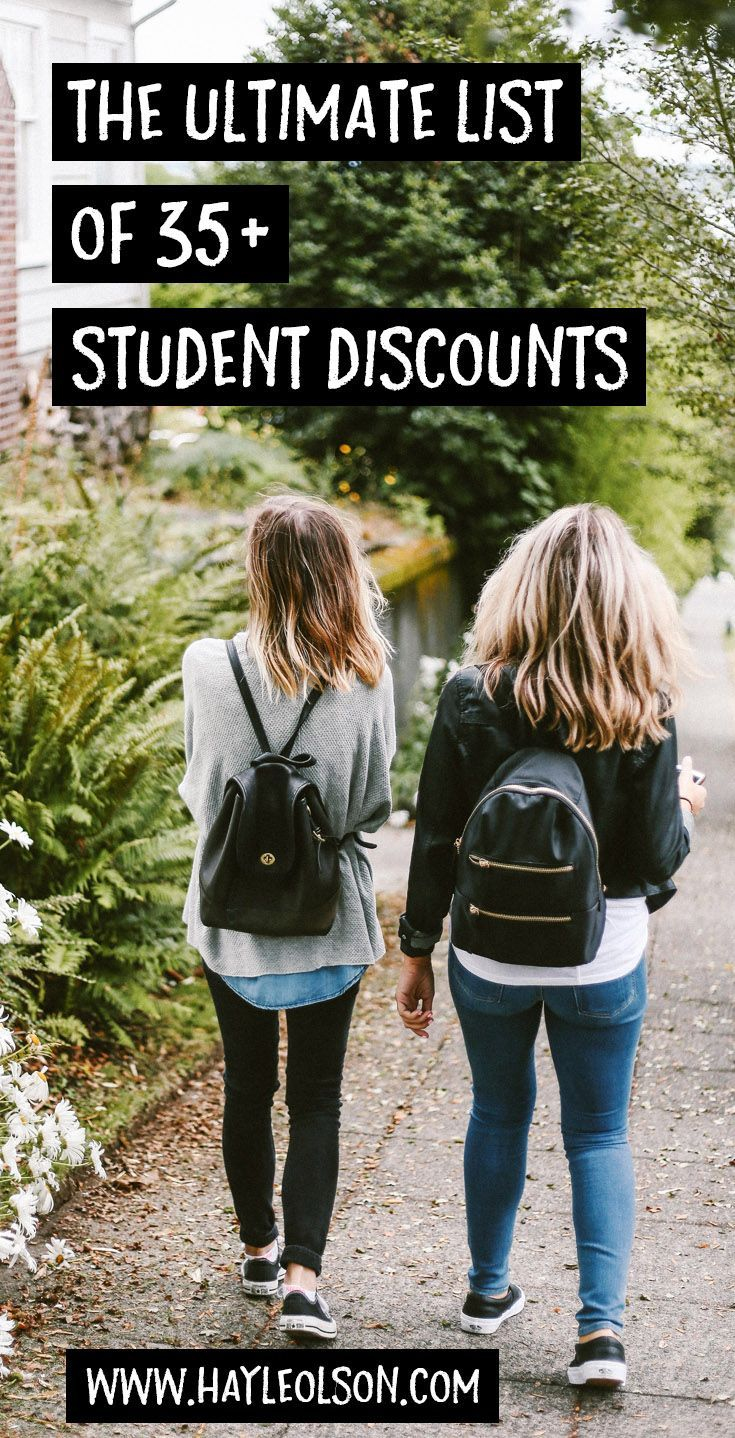 The Ultimate List of 35+ Student Discounts. One of the many perks of being a college student is the AMAZING student discounts! Click through to read now, or pin to save for later! :) Find my blog at... http://www.hayleolson.com