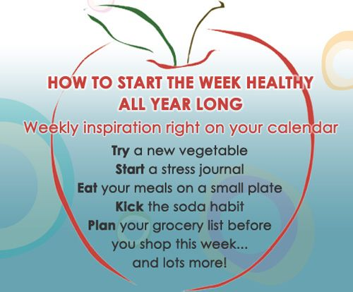 With the Healthy Mondays digital calendar, you'll get a new healthy habit to start every Monday.  Here's a shortcut to add the tips to your Cozi calendar:   http://www.cozi.com/add-cal?url=http://www.google.com/calendar/ical/cozi.com_gm6so9pcqub3g9mm3ulknobqto%40group.calendar.google.com/private-d057dd7e6ed620079693be5113e0fe25/basic.ics