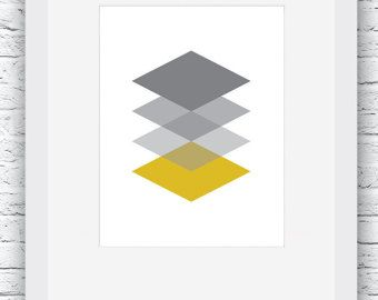 Mustard Yellow and grey Geometric patterns digital by Plumeriart
