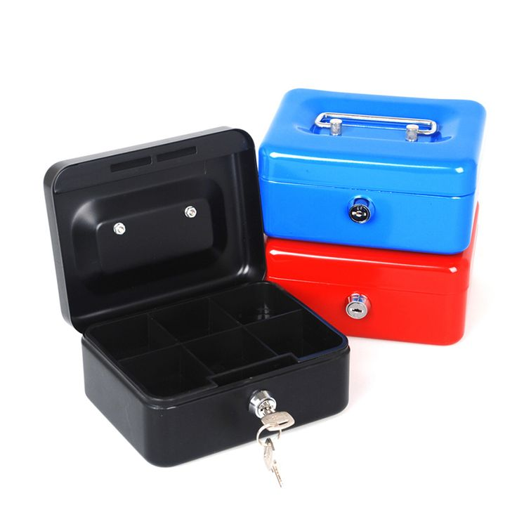Free Shipping Mini Portable Steel Petty Lock Cash Safe Box For Home School Office Market Lockable Coin Security box