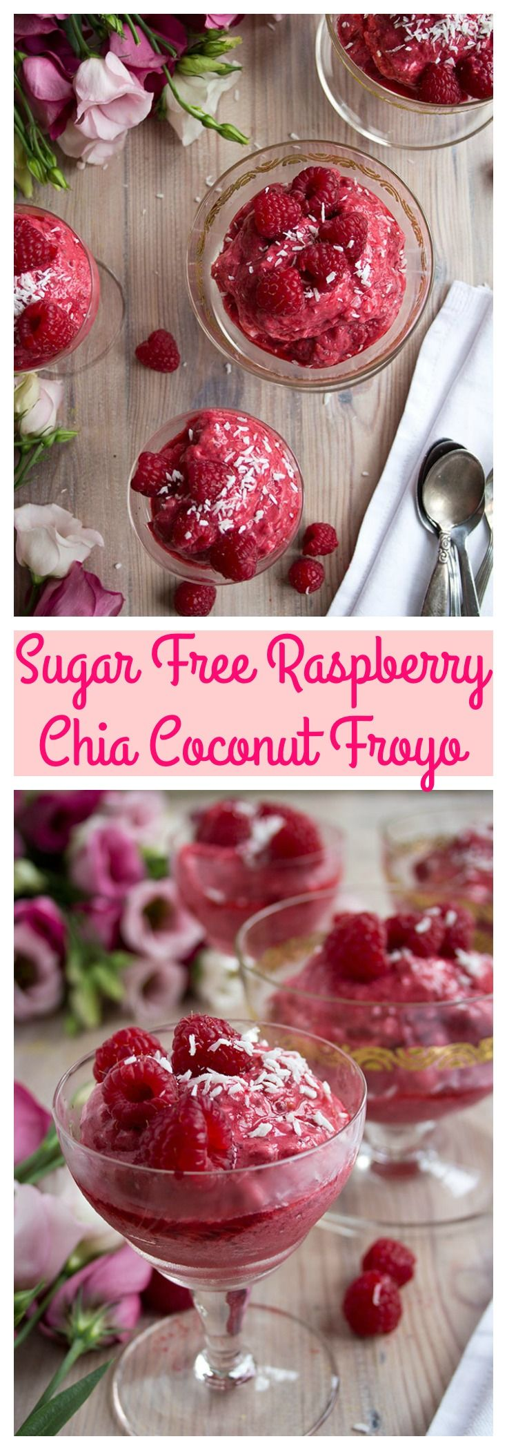 An insanely fruity and refreshing sugar free frozen yoghurt: Crown your meal with a Raspberry Chia Coconut Froyo