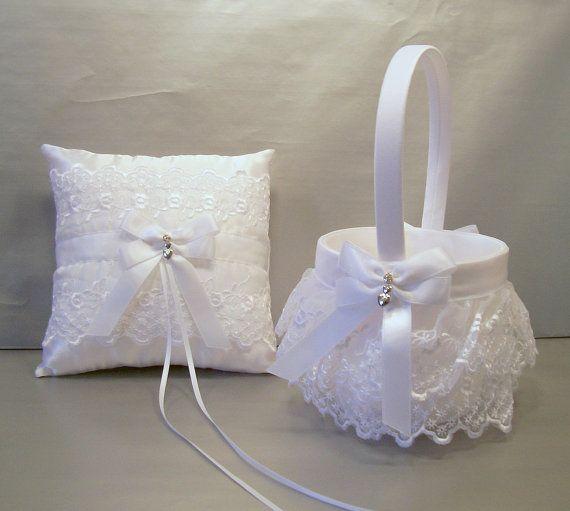 White Wedding Bridal Flower Girl Basket and Ring by evertonbridal
