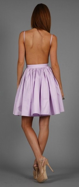 Backless summer dress in lilac. I like that it isn't too short.