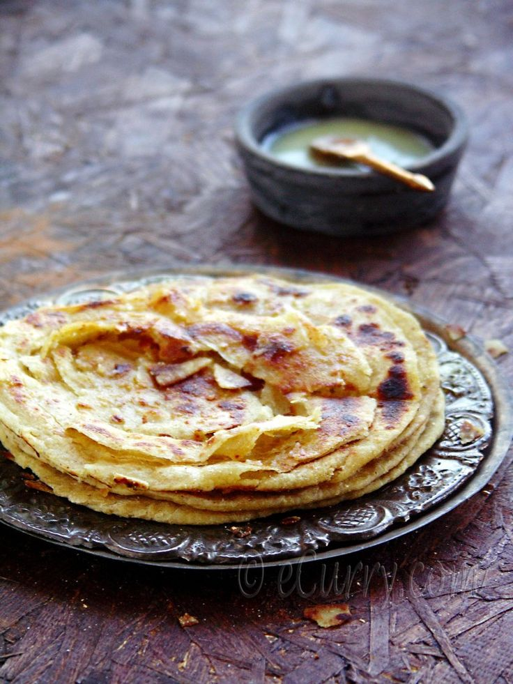 Lachha/lachcha Paratha- Indian layered flat bread recipe/bread on the griddle