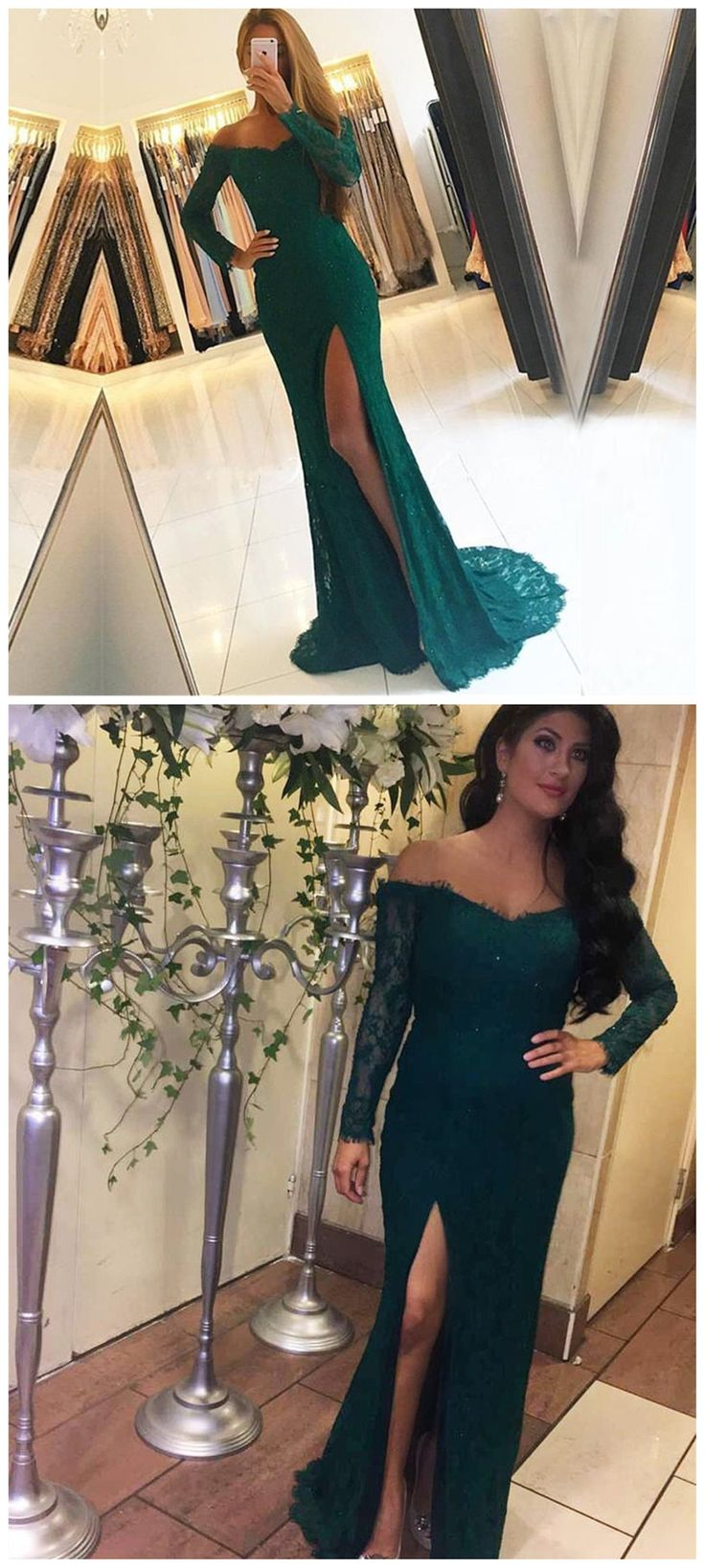 Off Shoulder Long Sleeve Green Lace Evening Prom Dresses, Popular Green Party Prom Dresses, Custom Long Prom Dresses, Cheap Formal Prom Dresses, 17195