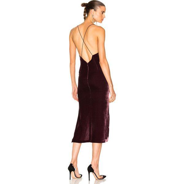 Dion Lee Velvet Fine Line Cami Dress ($690) ❤ liked on Polyvore featuring dresses, camisole dress, velvet camisole, dion lee dress, cami dress and brown cami