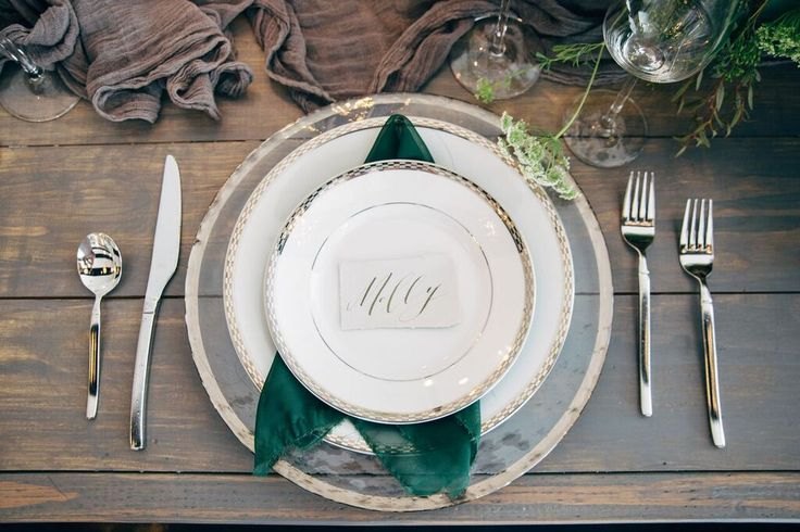 Lush Green and Gray Wedding Inspiration- place setting
