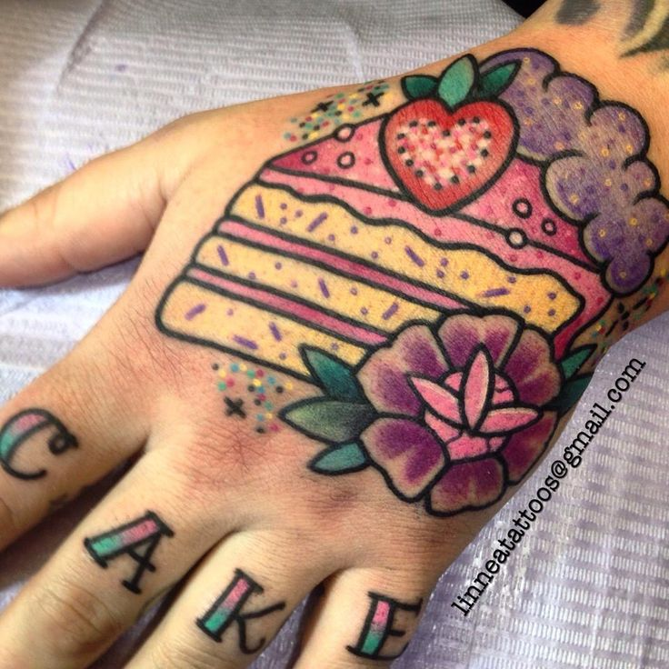 Cute strawberry cake slice tattoo by Linnea Pecsenye @linneatattoos in Asheville, NC