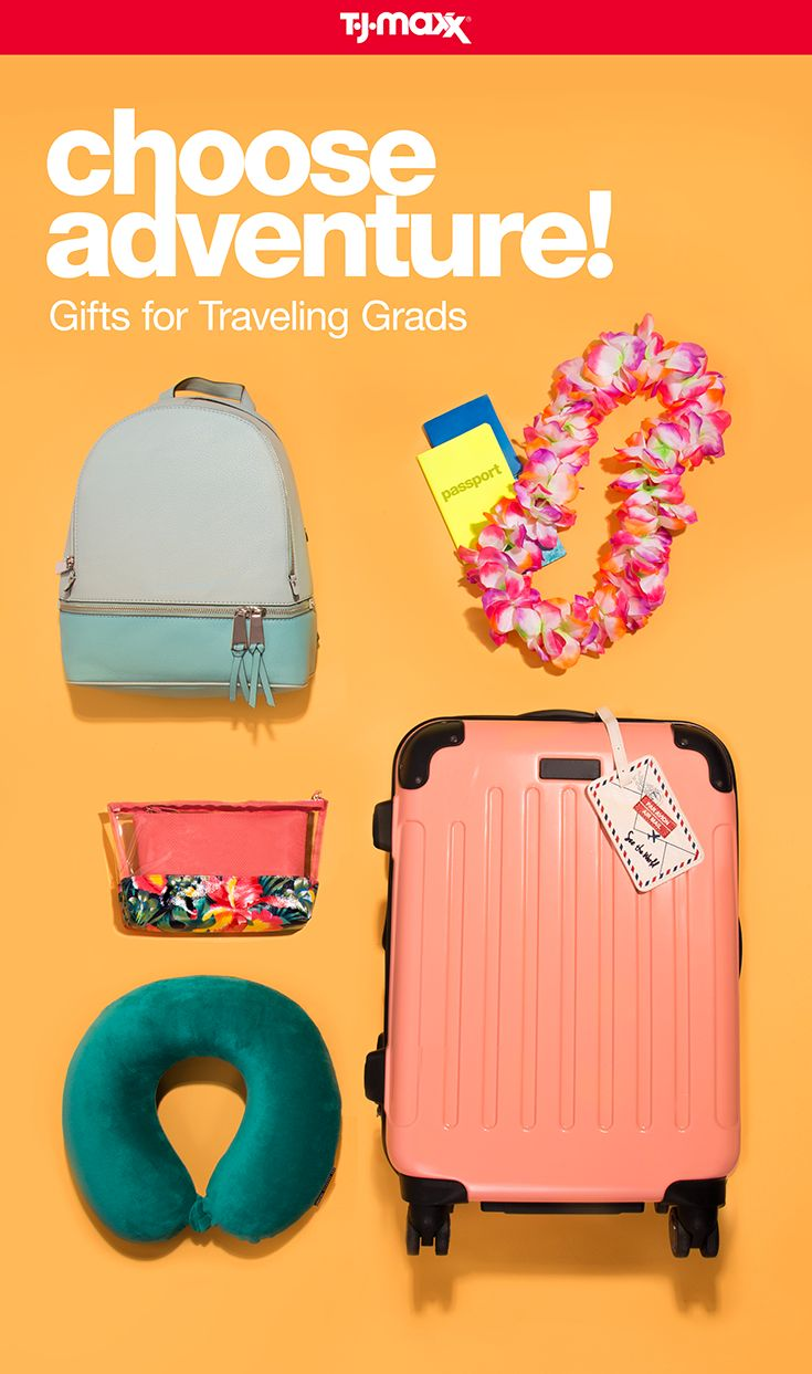 Whether your graduate is celebrating with a road trip or a tropical getaway, we have travel gifts for every adventure. Hard-cased luggage in a bright hue stands out from the crowd all while keeping every essential safe. And thoughtful gifts like travel pillows, passport holders, luggage tags, and backpacks are must-haves for any grad on-the-go. Find more graduation gifts at tjmaxx.com and T.J.Maxx.