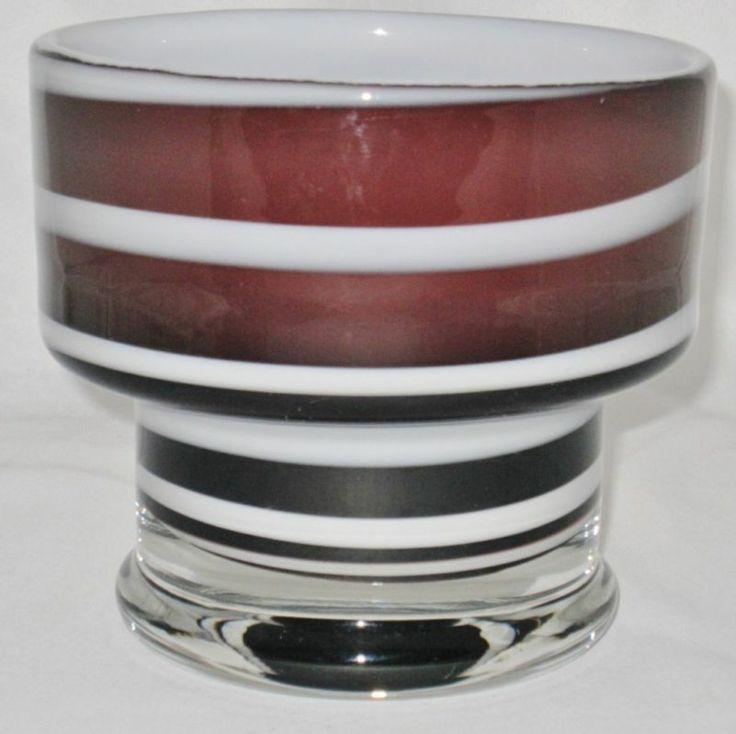 Magnor Art Glass Pedestal Bowl Norway Purple White | eBay