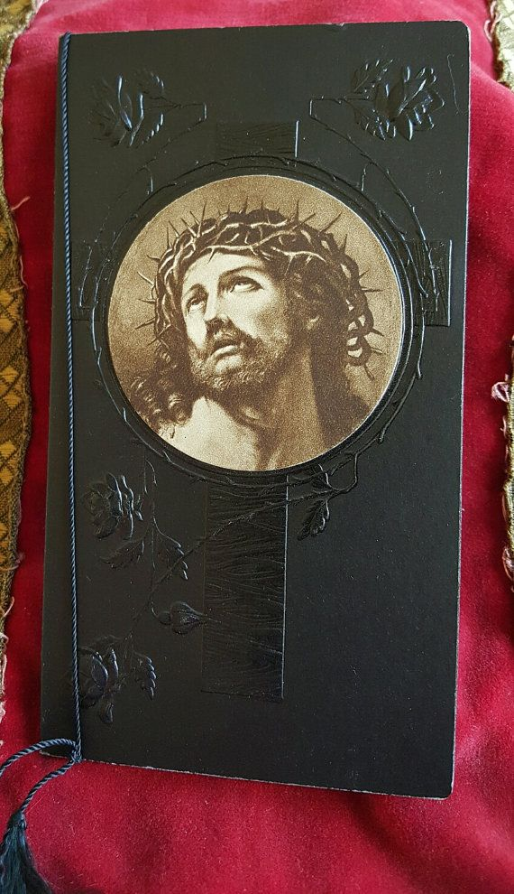 Antique Catalan Mourning  Funeral Card  Jesus by PinyolBoiVintage