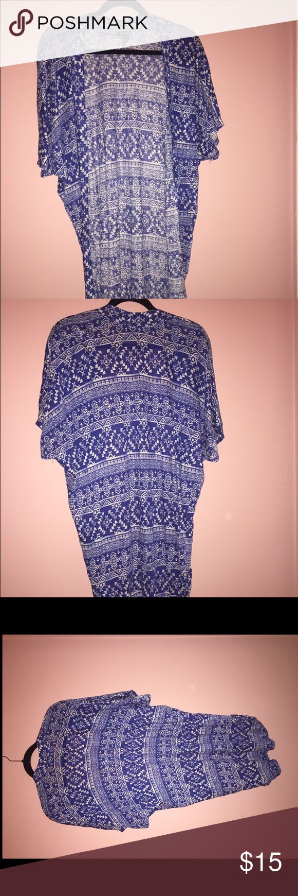 A royal blue and white cardigan A royal blue and white cardigan with an Aztec patten. It's made out of a thin light weight material. This has been worn maybe 10 times at most.  I'm 5'2 and it comes down to the back of my knees. Forever 21 Other