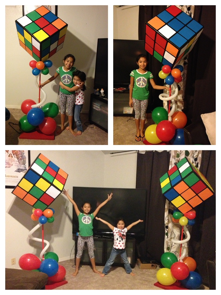 Ginormous Rubik's Cube decorations for 80's themed party.