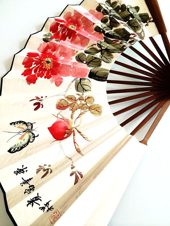 Butterfly and Flowers Chinese Fan by AccessoriesByEstelle on Etsy $80