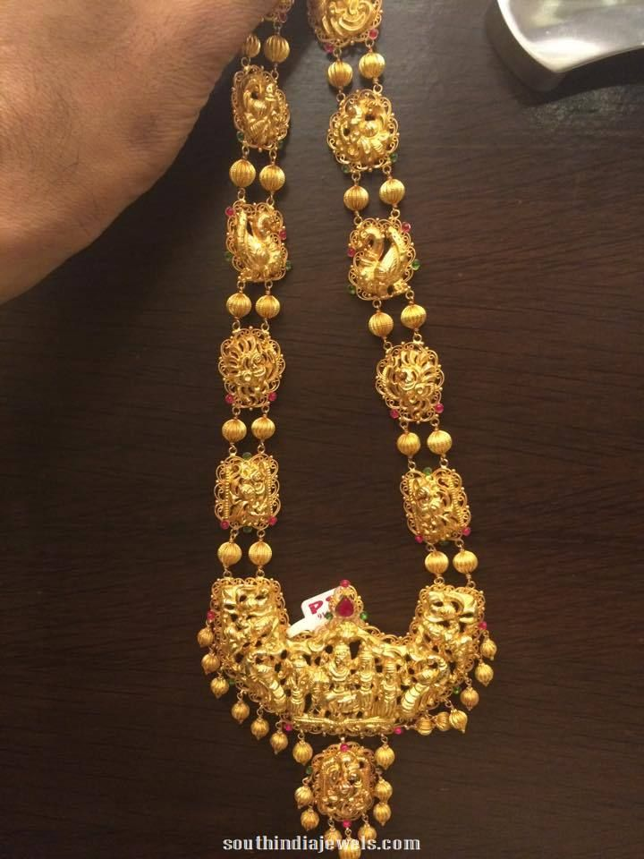 Gold Bridal Antique Long Necklace Jewellery Designs