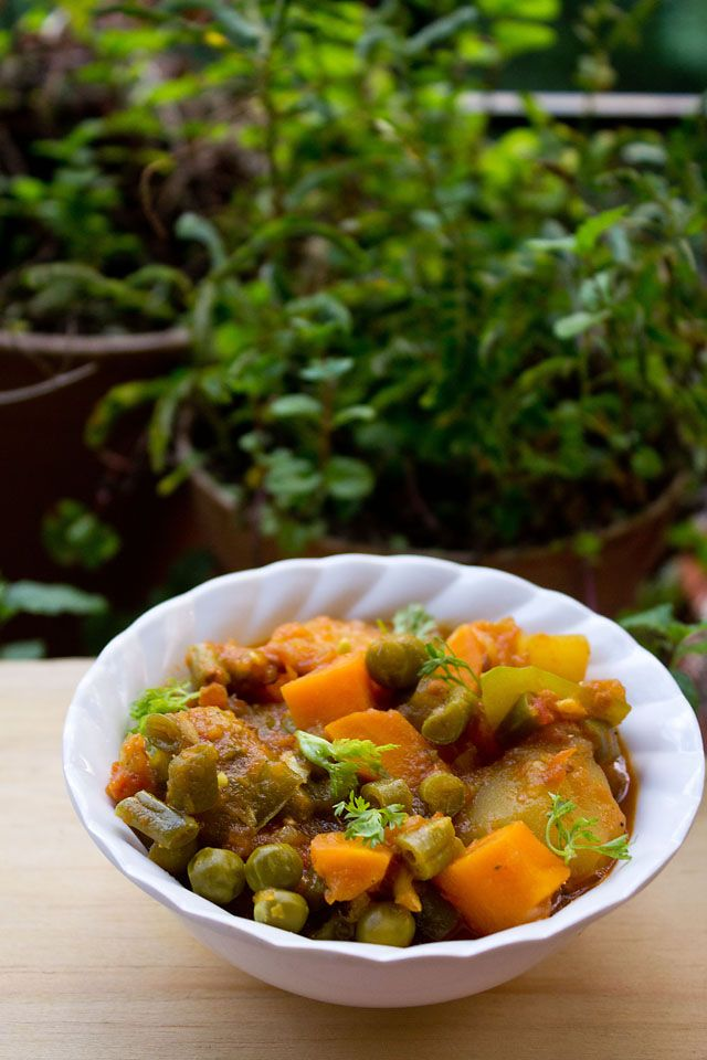 Mix Vegetable Recipe: How to make Mix Vegetable Recipe indian style -- let them cook in their own water, no cumin seeds, methi/garam masala at the end