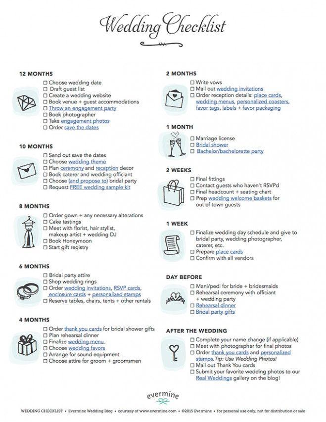 Wedding Reception Checklist Free Printable Dream Wedding Wedding
