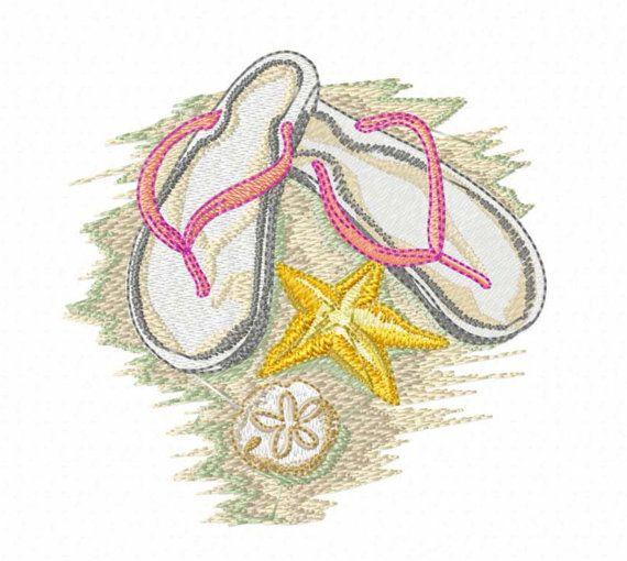 Flip Flops on a Beach - Machine Embroidery Beach Design - Digital Download Embroidery Fiie
