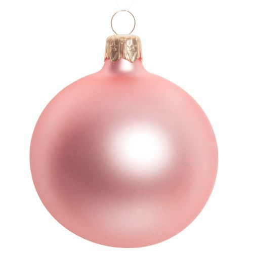Pallina di Natale rosa opaco in vetro 7 cm