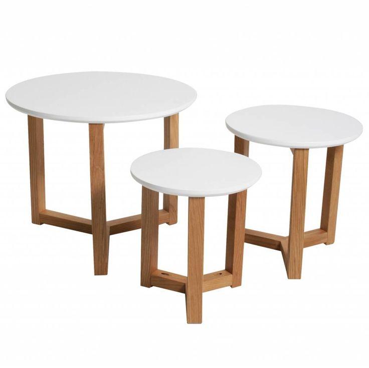 LEF collections Bijzettafel set van 3 Knock on wood wit Ø30, Ø35 en Ø50cm