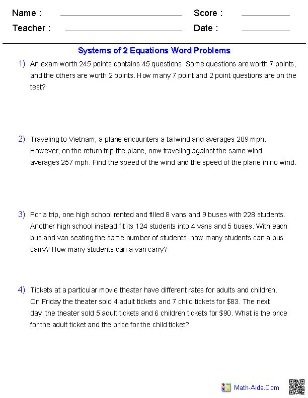 Equations Word Problems Pdf - 1000 images about systems of equations ...