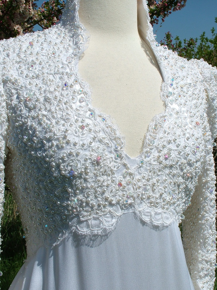 Wedding dress vintage 1970s Camelot Renaissance style Games of thrones fairy encrusted pearl bridal gown empire waistline custom made. $899.00, via Etsy.